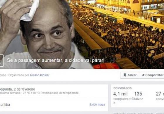 """Contra reajuste da tarifa, internautas criam evento: """"Se aumentar, Curitiba vai parar"""""""