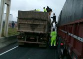 Mulher se joga de passarela e cai em cima de caminhão