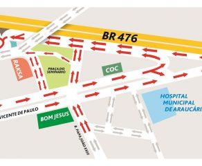 Mão única na São Vicente de Paulo começa dia 10 de maio; Confira outras mudanças no trânsito de Araucária