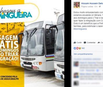 Hissam anuncia que Araucária terá ônibus de graça para toda a população aos domingos