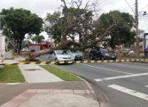 Árvore cai e atinge três carros que aguardavam semáforo abrir no Rebouças