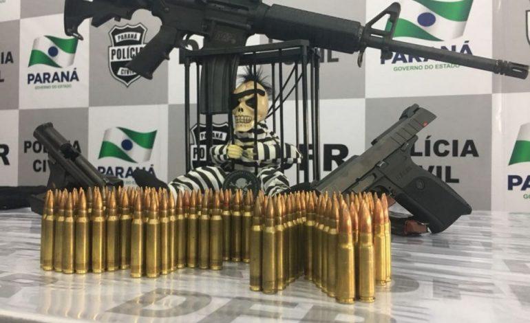 Com armas de grosso calibre, bandidos trocam tiros com a polícia e dois acabam presos