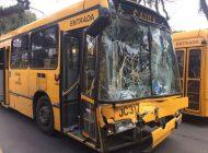 Ônibus bate em traseira de outro e quatro passageiras ficam feridas em Curitiba