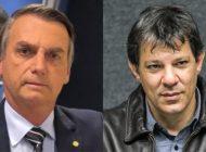 Na primeira pesquisa do 2º turno, Bolsonaro tem 48% contra 41% de Haddad